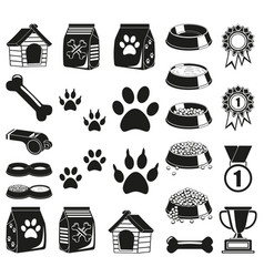 24 black and white pet care elements silhouette vector