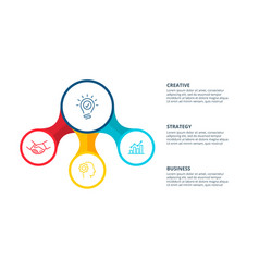 Abstract flat element circle flow chart with 3 vector