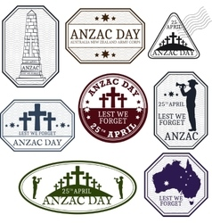 Anzac day Greeting stamp set vector