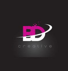 Bd b d creative letters design with white pink vector