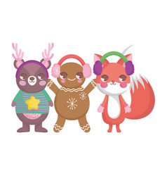 Bear fox and gingerbread man ear muffs merry vector