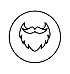 Beard with mustache barber shop icon vector