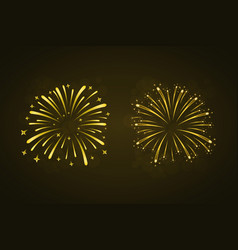 beautiful gold fireworks set bright fireworks vector image