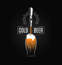 Beer tap with beer glass on black background vector