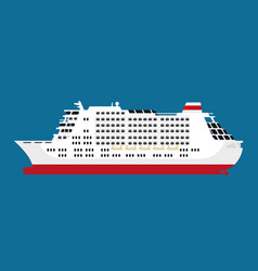 Big spacious white cruise liner isolated cartoon vector