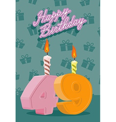 Birthday candle number 49 with flame vector image