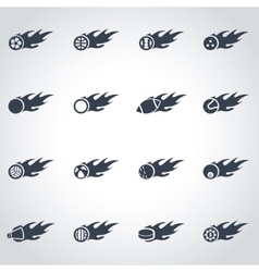 black file sport balls icon set vector image