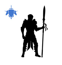 black silhouette of medieval knight vector image
