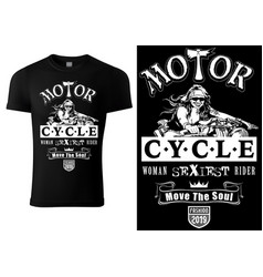 Black t-shirt design with motorcyclist woman vector