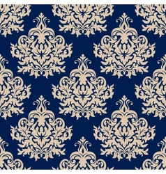 Blue damask seamless pattern with beige flourishes vector