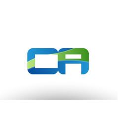 Blue green ca c a alphabet letter logo vector