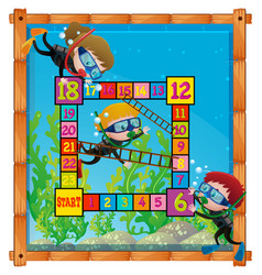 Boardgame template with kids scuba diving vector
