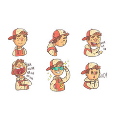 boy showing different emotions set male cartoon vector image