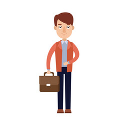 business hand holding briefcase with documents vector image