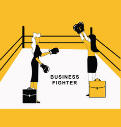 business woman fighting in ring vector image