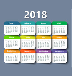 Calendar 2018 year design template in vector