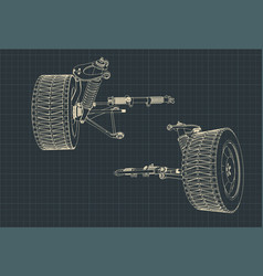 Car suspension blueprints vector