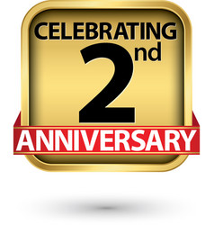 celebrating 2nd years anniversary gold label vector image