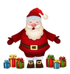 Cheerful Santa with gifts vector image