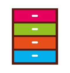 chest of drawers isolated icon vector image