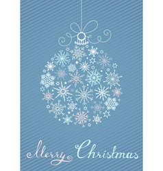 Christmas ball of snowflakes on blue striped vector image