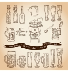 Collection of beer glasses and bottles vector