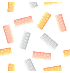 colorful pills blisters seamless pattern vector image