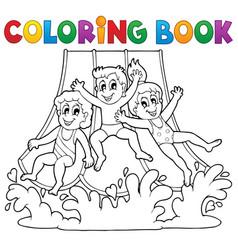 Coloring book aquapark theme 1 vector