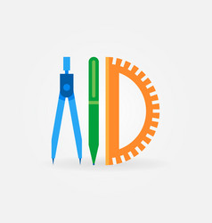 Compass with pen and protractor flat icon vector