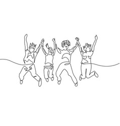 Continuous one line drawing jumping diversity vector