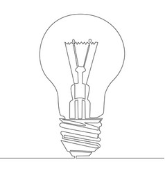 continuous one line drawing light bulb symbol vector image