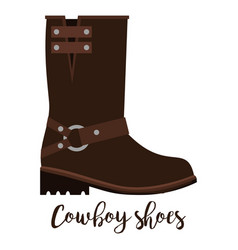 Cowboy shoes icon with text vector