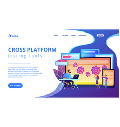 Cross platform bug founding concept landing page vector