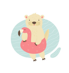 Cute otter swimming in a pool with a flamingo toy vector