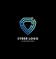 cyber logo line premium vector image