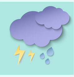 dark paper cut clouds lightning and rain drops vector image