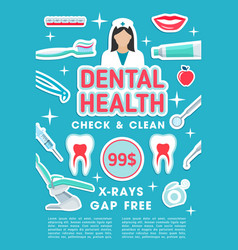 Dental clinic checkup and treatment poster vector