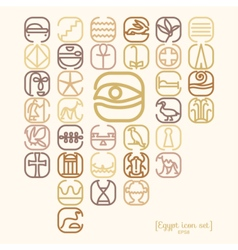 Egypt symbol icon set with a lot of symbols vector image