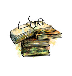 eyeglasses on top stack books and open book from a vector image