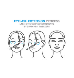 eyelash extension process lash extensions vector image