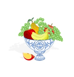 Faience bowl blue color with fruit vector image