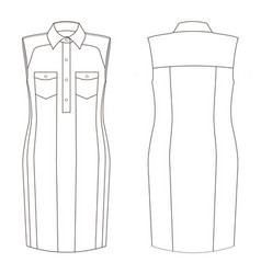 Fashion technical sketch dress in vector
