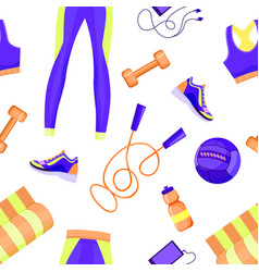 female sport equipment seamless pattern vector image