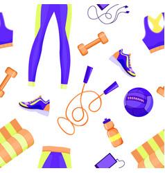 Female sport equipment seamless pattern vector