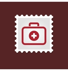 First aid kit medical stamp vector