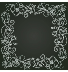 floral card hand drawn flowers and leaves on the vector image