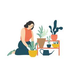 funny happy girl taking care houseplants vector image