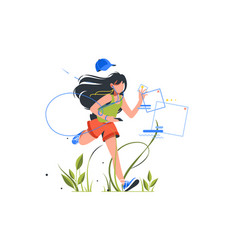 girl running with phone and headset outdoor vector image