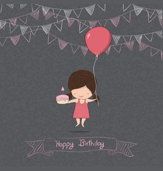girl with birthday cupcake blackboard background vector image