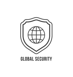 Global security icon with linear shield vector